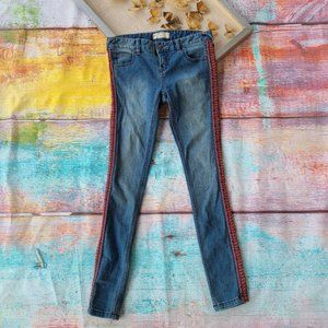 Free People Embroidered Super Skinny Jeans 26